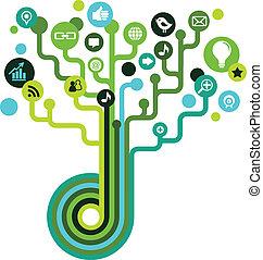 media, towarzyski, drzewo, sieć, ikony