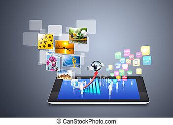 media, towarzyski, ikony technologii