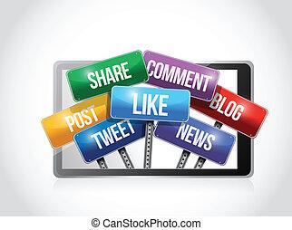 media, towarzyski, ilustracja, tabliczka, znak