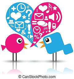media, towarzyski, ptaszki, ikony