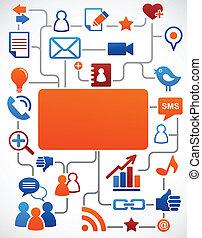 media, towarzyski, sieć, tło, ikony