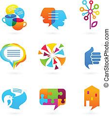 media, towarzyski, sieć, zbiór, ikony