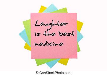 """medicine"""", lepki, barwny, tekst, notatki, odręczny, """"laughter, chrzcielnica, najlepszy, grono"""