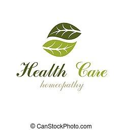 medicine., symbol, homeopatia, odizolowany, alternatywa, liście, twórczy, zieleń biała, tło.