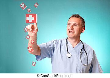 medycyna, holographic, tabletes, doktor