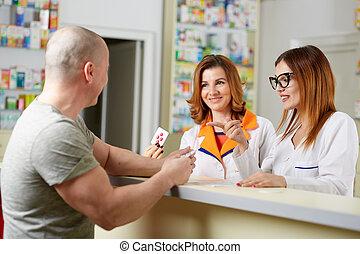 medycyna, klient, sprzedajcie, farmaceuta
