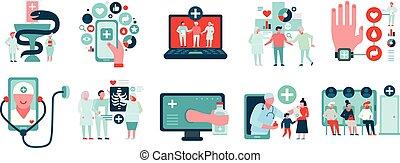 medycyna, komplet, cyfrowy, ikony