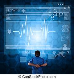 medycyna, nowoczesny, komputer, pracujący, doktor