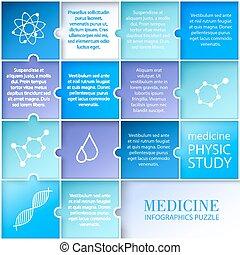 medycyna, płaski, infographic, design.
