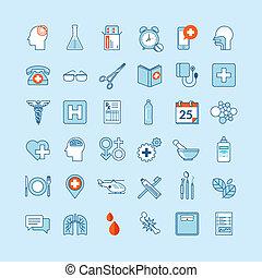 medycyna, płaski, projektować, ikony