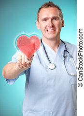 medycyna, serce, holographic, doktor