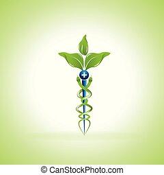 medycyna, symbol, alternatywa, kaduceusz