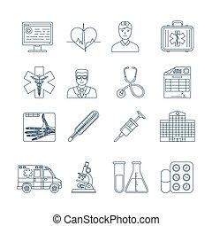 medyczne ikony, kreska, cienki