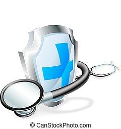 medyczne pojęcie, stetoskop, tarcza