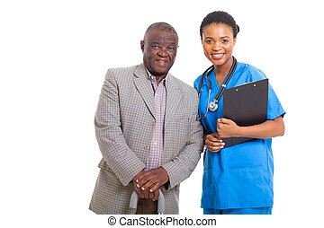 medyczny, amerykanka, afrykanin, pielęgnować, starszy człowiek