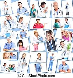 medyczny, collage., grupa, leczy