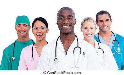 medyczny, dodatni, zaprzęg portret