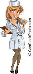medyczny, dziewczyna, phonendoscope
