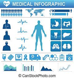 medyczny, elementy, ikony, infograp, zdrowie, healthcare, dane