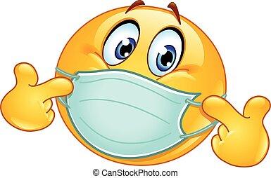 medyczny, emoticon, maska, spoinowanie, się
