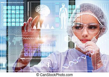 medyczny, groźny guzik, pojęcie, doktor, futurystyczny