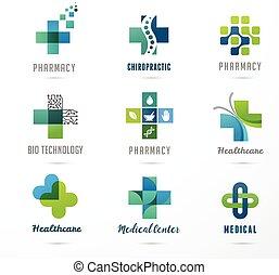 medyczny, healthcare, ikony, apteka