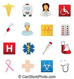 medyczny, healthcare, ikony