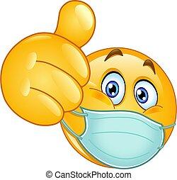 medyczny, kciuk do góry, maska, emoticon