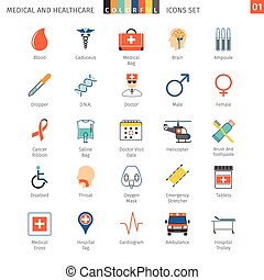 medyczny, komplet, 01, barwny, ikony