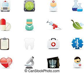 medyczny, komplet, ikona