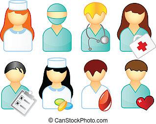 medyczny, komplet, ludzie