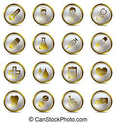 medyczny, komplet, złoty, ikony