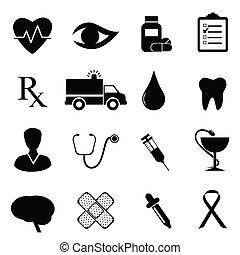medyczny, komplet, zdrowie, ikona