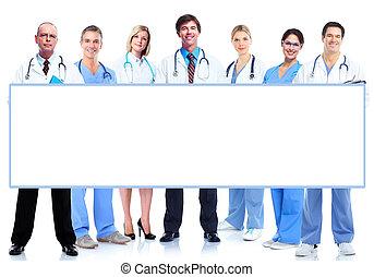 medyczny, leczy, grupa, banner.