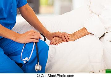 medyczny, pacjent, senior, doktor