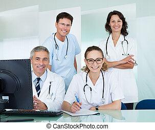 medyczny, przedstawianie, biurowy zaprzęg