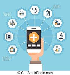 medyczny, sieć, mądry, medycyna, online, pojęcie, utrzymywać, ręka, ikony, telefon, zastosowanie, traktowanie, towarzyski