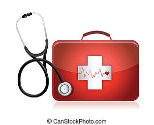 medyczny, stetoskop, zestaw