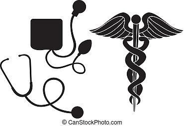 medyczny, sylwetka, znak