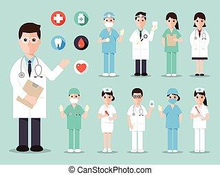 medyczny, szpital, ikony