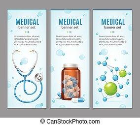medyczny, wektor, chorągiew, set., pionowy