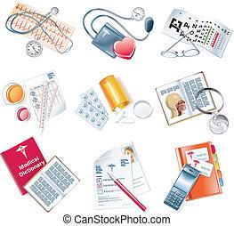 medyczny, wektor, komplet, ikona
