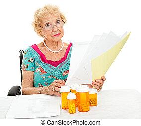 medyczny, wydatki, senior, niepełnosprawny, twarze