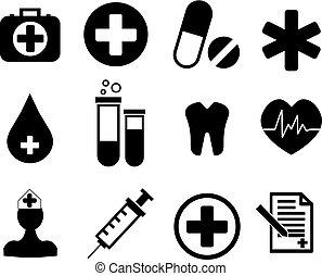 medyczny, zbiór, ikony