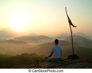 medytacja, su, człowiek