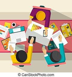meeting., biznesmeni, handlowy, computer., prospekt, wektor, wykresy, projektować, górny, płaski, illustration.