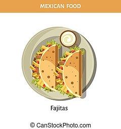 meksykańskie jadło, fajitas, czosnek, zachwycający, sos