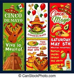 meksykanin, mayo, od, fiesta, cinco, wektor, zaproszenie