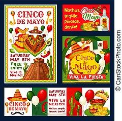 meksykanin, mayo, od, fiesta, zaproszenia, cinco, wektor