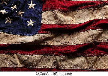 memoriał, stary, bandera, dzień, amerykanka, 4, tło, lipiec, albo